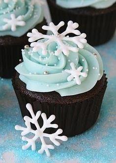 Snowy dark chocolate cupcake with icy blue buttercream