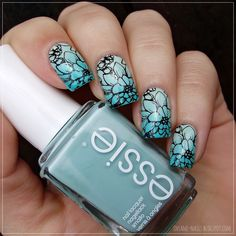 Nailpolis Museum of Nail Art | Mint green floral nails by Sanela Nail Polish Used: Essie Mint Candy Apple, Bourjois Turquoise block, Essence 01 Blow My Mint, Wynie C048