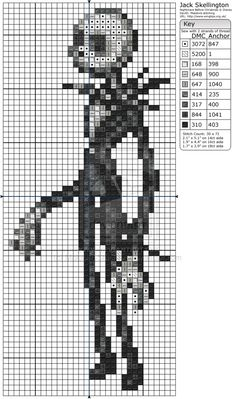 The Nightmare Before Christmas - Jack Skellington by Makibird-Stitching on DeviantArt Cross Stitch Bookmarks, Cross Stitch Charts, Cross Stitch Patterns, Nightmare Before Christmas, Cross Stitching, Cross Stitch Embroidery, Jack Y Sally, Stitch Character, 8bit Art