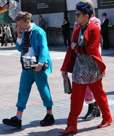 Colorful coordinated men fashion spotted in Shibuya Fashion District this Spring 2012