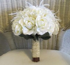 Bridal bouquet in ivory real touch roses by MyFavorsandFlowers