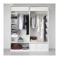 PAX Wardrobe, white, Hasvik white, cm - Shop online or in-store - IKEA Closet Ikea, Ikea Pax Wardrobe, Wardrobe Rack, White Wardrobe, Small Wardrobe, Wardrobe Storage, Pax System, Pax Planer, White Bedrooms