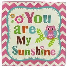"""The """"You are my sunshine"""" wall plaque brightens up a room with its sweet message and fun colors. 
