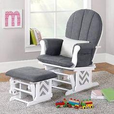 Nursery Glider Rocker Ottoman Baby Room Rocking Chair Cushion Grey Gray Chevron | eBay