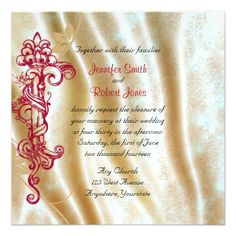 This beautiful and elegant design, called Cream Silk and Red Scroll Posh Wedding, has a beautiful Vintage inspired design. The background is a cream silk pattern. To the left side there is a red antique style scroll design with vines growing around it. Perfect for a vintage style or opulent wedding. #Wedding #Invitations