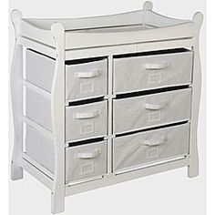 @Overstock - This white basket changing table makes the perfect accessory for your babys nursery. Featuring multiple drawers for storing clothes, diapers, and other items, this sturdy table is made of wood and can support up to 30 pounds of weight.http://www.overstock.com/Baby/Badger-Basket-White-6-basket-Changing-Table/4670574/product.html?CID=214117 $127.49
