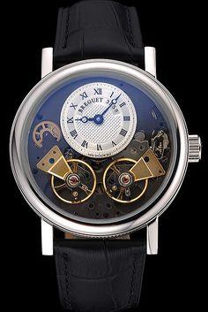 Breguet Duo Tourbillon Silver Case White Dial Black Leather Bracelet  622622