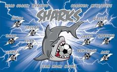 Sharks-46093  digitally printed vinyl soccer sports team banner. Made in the USA and shipped fast by BannersUSA. www.bannersusa.com