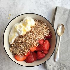 Some mornings made for cold breakfast - @hurdlebrook A2 yoghurt with @louolas quinoa & the best of @boroughmarket strawberries with a drizzle of @oliveology raw honey. No veg today but masses of strawberries which are high in many #antiinflammatory & #antioxidants which prevent #heartdisease #cancer and other inflammatory conditions. I'll be writing more about the #health & #cancerprevention benefits of strawberries later today on my blog. In the meantime enjoy the sunshine! #londonfoodie…