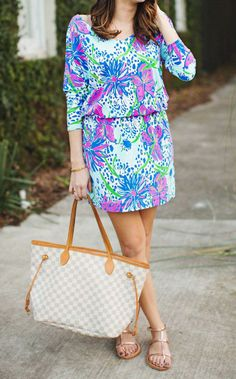 Lilly Pulitzer Cara Dolman Sleeve Dress in Resort White In the Garden worn by W Dasher // Life on the Squares Preppy Outfits, Preppy Style, Summer Outfits, Cute Outfits, My Style, Estilo Preppy, Skinny, Passion For Fashion, Spring Summer Fashion