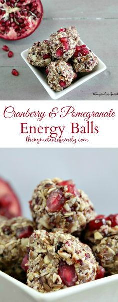 These Cranberry & Pomegranate Energy Balls are a perfect healthy snack!