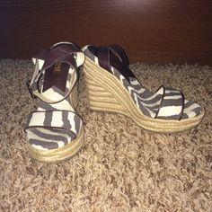 SALE Michael Kors zebra stripe wedges Michael Kors zebra stripe wedges.  Fabric and leather upper.  EUC MICHAEL Michael Kors Shoes Wedges