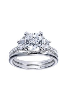 White Gold Contemporary 3 Stone Engagement Ring