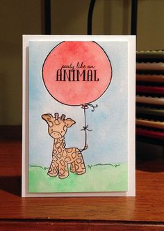Party animal card with watercolors