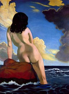 Bather, stormy sky, 1916 by Felix Vallotton. Magic Realism. genre painting