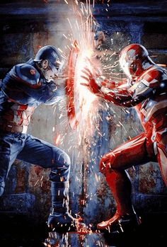 Iron man V captain america Marvel Dc Comics, Marvel Avengers, Marvel Fanart, Heros Comics, Marvel Heroes, Marvel Logo, Marvel Cake, Avengers Team, War Comics