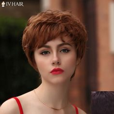 38.38$  Watch here - http://dilno.justgood.pw/go.php?t=180536904 - Fashion Short Side Bang Bouffant Curly Siv Hair Capless Human Hair Wig For Women