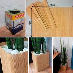 A ideia é reutilizar os latões de tinta e criar uma bonito arranjo ecologicamente correto! (: Para revesti-lo, foram utilizados dois jogos americanos em bambu. Iniciativa de Rafael Luz, arquiteto.