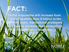 Agricultural producers will have to increase food production 70 to 100% in the next 40 years. #AgDay