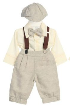 1920s Children Fashions: Girls, Boys, Baby Costumes DapperLads Fouger Baby Boys Linen Solid Tan 5 - Piece Knicker Set $36.00 AT vintagedancer.com