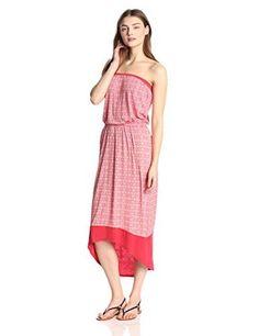 VELVET By Graham & Spencer Desma Off Shoulder Print Tube Maxi Dress Red S $178  | eBay