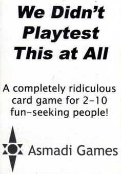 We Didn't Playtest cover