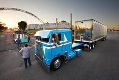 Tricked Out Semi Truck Gallery | tricked-out Freightliner cabover photographed at the gates of a ...