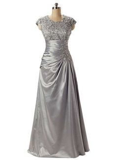 Cute silver mother of the bride dress with cap sleeves and in plus sizes