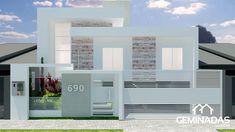 Projeto de Fachada  Vai construir ou Reformar? Venha fazer o seu projeto conosco!    Whatsapp(44)99151-0860 Row House Design, Modern House Design, Aluminium Front Door, Compound Wall Design, House Elevation, Fence Design, Home Deco, Interior Design Living Room, House Plans