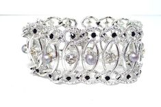 Emmons Rhinestone Bracelet - Vintage Silvertone & Black Linky Jewellery