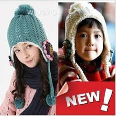 f1b8f4bfdd4 Winter Baby Girl Bomber Hats Kids Ear Protector Cap Child Thicken Knitted  Hats