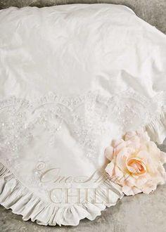 Preslee Silk & Beaded Lace Christening Blanket