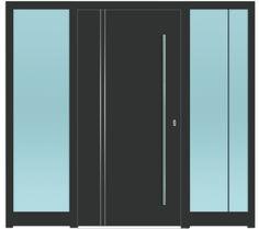 Sternstunden Eingangstüre POLARIS 9 - Aluminiumtüre mit 2 Seitenteilen außen in grau. Besuchen Sie unseren Schauraum in Gramastetten - dort haben wir einige unserer Haustürmodelle ausgestellt. #Fensterschmidinger #doors #türen #alu #gramastetten #oberösterreich
