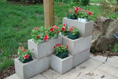 Creative cinder block planter with knit fabric bags and RootTrappers. -  for corner of swimming pool