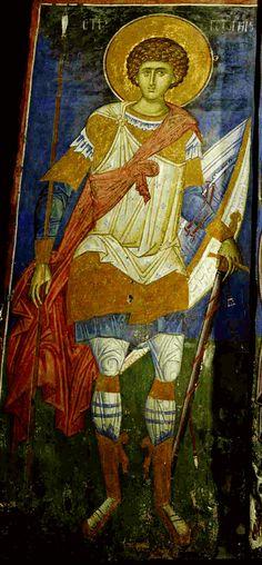 Saint George the Trophy-bearer ~ fresco, Visoki Decani Monastery in Kosovo and Metohija, Serbia Religious Images, Religious Icons, Religious Art, Byzantine Icons, Byzantine Art, Fresco, Catholic Art, Art Icon, Hindu Art