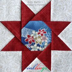 Judy Martin's Waltzing Matilda made by Linda Franz using Inklingo. The pattern was originally in the book, Judy Martin's Ultimate Book of Quilt Block patterns, 1988.