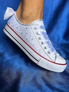 Wedding trainers, Wedding sneakers for bride shoes, Bedazzled sneakers,  Budget bride shoes, Custom bride sneakers, Custom wedding sneakers Sweet  and ...