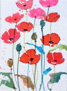 Original Watercolour Painting ACEO - Poppies - by Annabel Burton