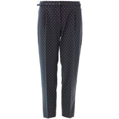 WEEKEND MAX MARA Rienza trousers (710 HRK) found on Polyvore featuring women's fashion, pants, trousers, navy, star print pants, navy pants, tailored pants, navy trousers and crepe pants