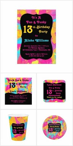 Birthday - Funky and Fun Abstract Teen  =  Fun and Funky Abstract Birthday Party Collection for your teens and preteens. Shown here for a 13th birthday, this design can be personalized for any age. Original design by Holiday Hearts Designs (all rights reserved). View the entire collection here: http://www.zazzle.com/…/birthday_funky_and_fun_abstract_tee… ‪#‎gifts‬ ‪#‎shopping‬ ‪#‎birthday‬ ‪#‎party‬ ‪#‎13thbirthday‬ ‪#‎collections‬ ‪#‎accessories‬ ‪#‎invitations‬