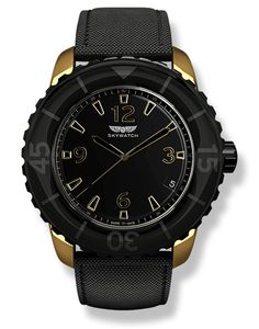 Black and Gold Skywatch Watch, 44mm 3 hand. $295 US