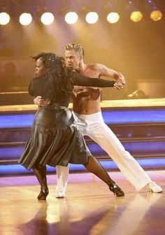 """WEEK 8  -  Amber Riley and Derek Hough Dance: Rumba Song: """"If I Could Turn Back Time""""  Judges' Scores: 9+9+10=28"""