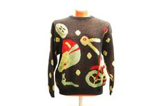Vintage Fiorucci mesh pullover, round neck unisex sweater with motor sports motorcycling themed pattern, Rayon wear, 1980s made in Italy by Aerosvar