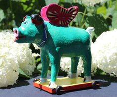 When Pigs Fly - Mexican folk art - turquoise & Pink Winged Pig by Ortega family