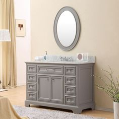 Water Creation Derby 48-inch Cashmere Grey Single Sink Bathroom Vanity (Vanity, Mirror, and Faucet Included)
