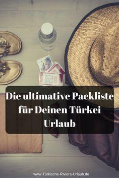 Mit der ultimativen Packliste & Checkliste für den Türkei Urlaub kannst du nichts mehr vergessen! So kannst du dich am Abreisetag gemütlich auf den Weg zum Flughafen machen, ohne Sorgen. Die Liste gibt es auch als Download. Damit du alle einzelnen Punkte abhaken kannst! http://www.tuerkische-riviera-urlaub.de/packliste-urlaub-tuerkei/