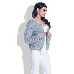 Cardigan scurt cu impletituri tricotate supradimensionate gri  #cardiganbomber #cardigantricotat #cardiganscurt #cardiganculana Cardigan Outfits, Crochet Clothes, Ruffle Blouse, Elegant, Sweaters, Tops, Women, Fashion, Tricot