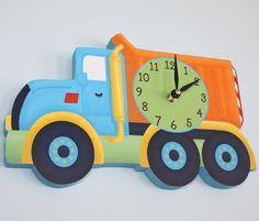 Bright Construction Dump Truck Wooden WALL CLOCK for Kids Bedroom Baby Nursery. $45.00, via Etsy.