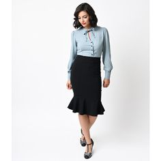 Collectif Retro Black Winifred High Waist Fishtail Skirt ($42) ❤ liked on Polyvore featuring skirts, black, high-waisted pencil skirts, high-waist skirt, retro skirts, fishtail skirt and high waist knee length pencil skirt