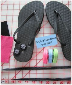 Black Flip Flops with Materials for Project